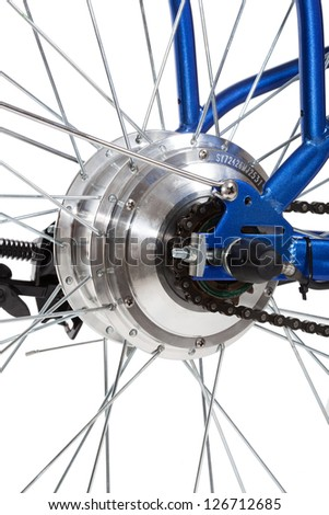 bike rear wheel detail on white background, isolated - stock photo