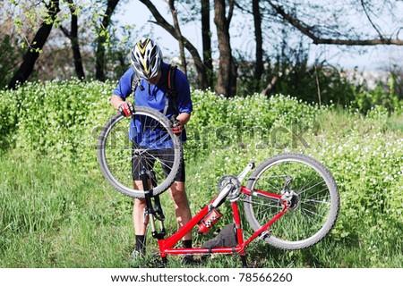Bike Repair Young Man Repairing Mountain Stock Photo 78566260