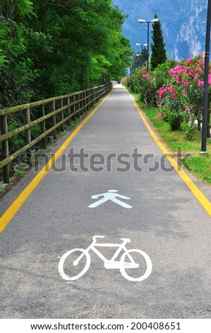 Bike road in the park, Italy - stock photo