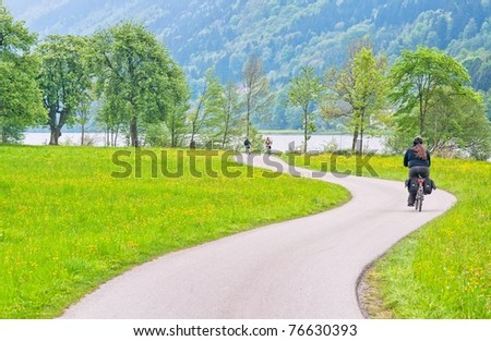Bike road on Danube river in Austria - stock photo