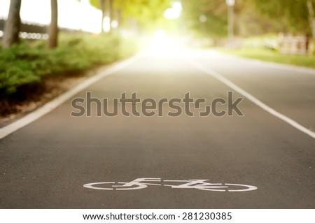 Bike road sign - stock photo