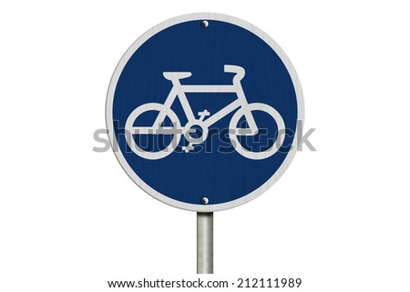 Bike Route Sign, An  blue road sign with bike icon isolated on white