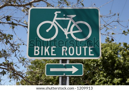 Bike route sign, tourism on the island encourages visitors to hire bikes and use special lanes sanibel Island, florida America, usa taken in march 2006 - stock photo