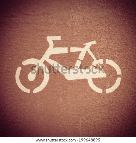 Bike Sign on Bicycle Path