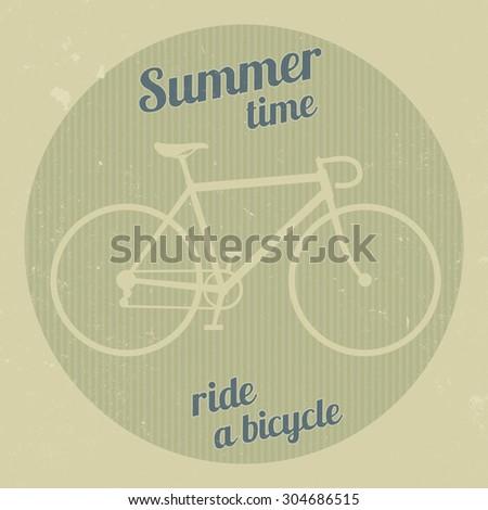 Bike silhouette in a retro style. Hipster bike logo. Raster version - stock photo