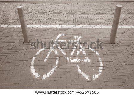 Bike Symbol; Den Haag; the Hague; Holland; Netherlands in Black and White Sepia Tone