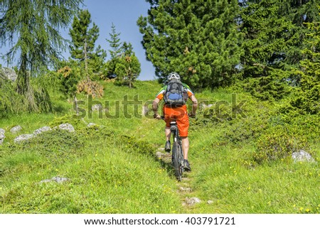 Bike traveler with rucksack rides a green trail uphill - stock photo