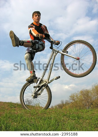 bike trick 2 - stock photo