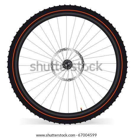 Bike wheel -  illustration on white background. Look for vector version in my portfolio. - stock photo