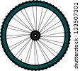 Bike wheel - illustration on white background, raster - stock photo