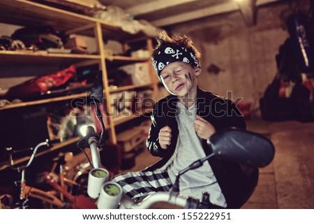 biker boy - stock photo