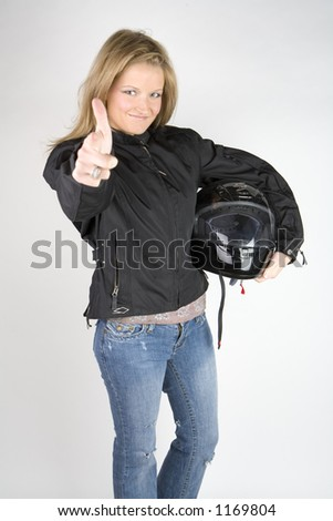 Biker chick - stock photo