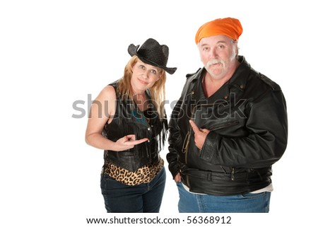 Biker couple engaged in a pointing match