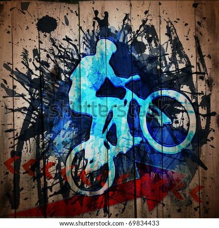 Biker.  Digital graffiti on a wooden fence - stock photo