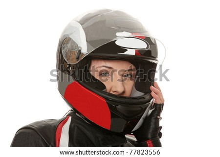 Biker girl over white background - stock photo