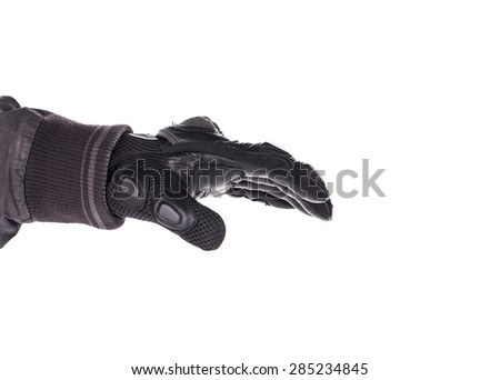 Biker Glove on white background - stock photo