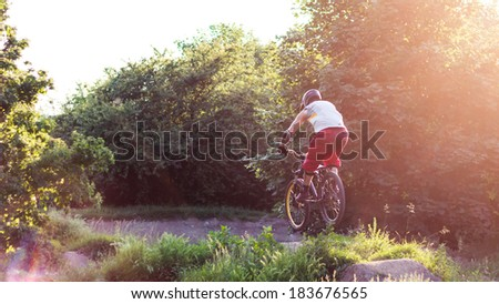 Biker Jump - stock photo