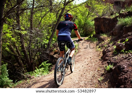 Biker on pathway in mountain forest - stock photo