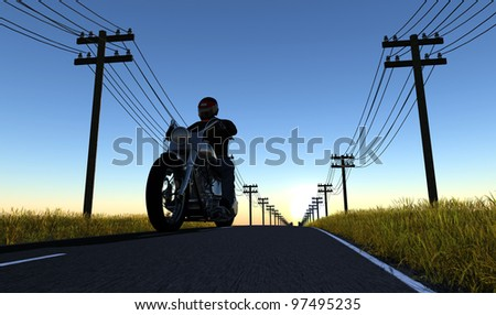 Biker on the road against the sky - stock photo