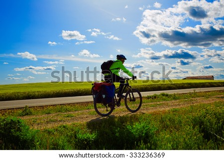 Biker on The Way of Saint James biking in Palencia Spain