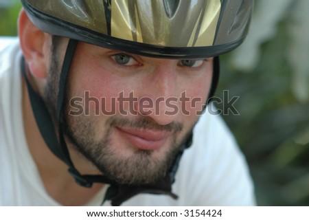 Biker portrait - stock photo