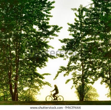 Biker silhouette at sunset - stock photo