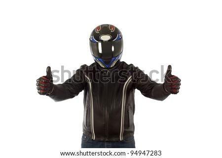 Biker with helmet - stock photo