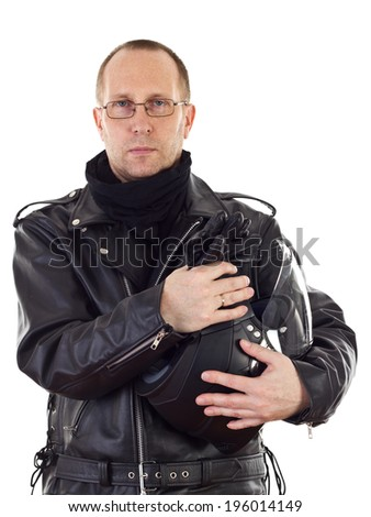 Biker with motorcycle helmet - stock photo