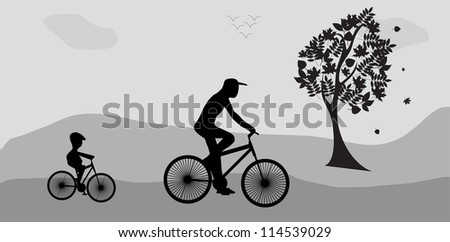 Bikers and the tree. Illustration  Raster version .
