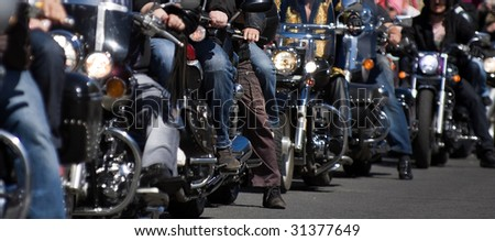 Bikers at the bike show -  - small depth of field - stock photo