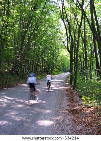 Bikers in the forest - stock photo