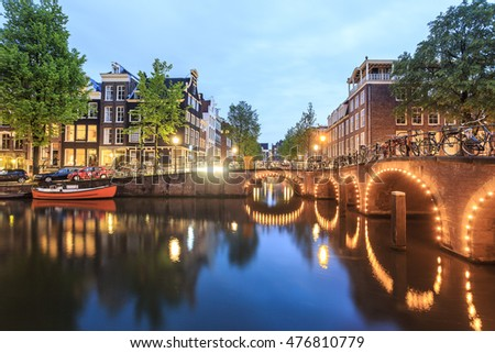 Bikes, boats, canal and charming architecture in Amsterdam, The Netherlands