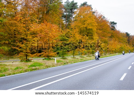 Bikes driving on country road. Autumn scene, low angle, motion blur. - stock photo