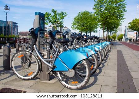 Bikes for rent in Dublin - stock photo