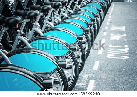 Bikes for rent in Lodnon - stock photo