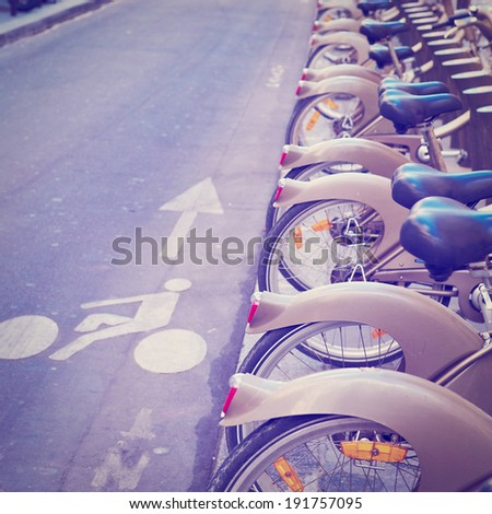 Bikes for Rent in the Street in Paris, Instagram Effect - stock photo