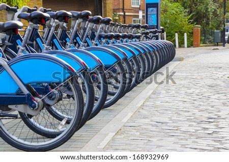 Bikes for Rent, London. - Stock Image, Bikes for rent in London. (introduced in July 2010 across London) - stock photo