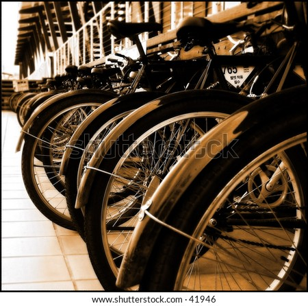 Bikes in a row - stock photo