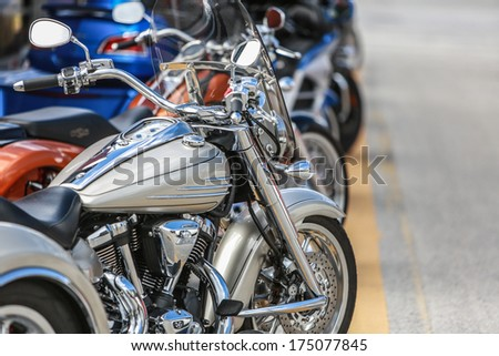 Bikes in a row / line - stock photo