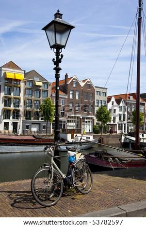 bikes in an dutch city - stock photo