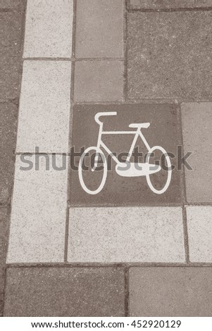 Bikes Lane Symbol, Amsterdam; Holland in Black and White Sepia Tone