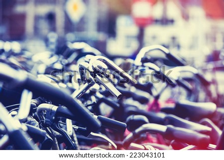 Bikes on parking in Amsterdam - stock photo