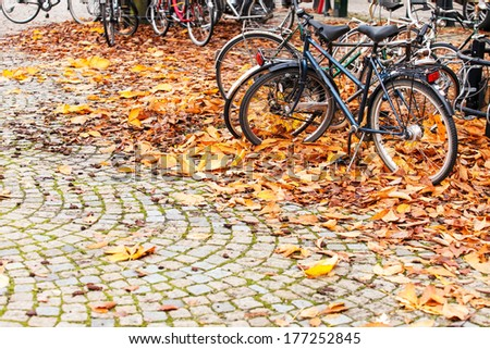bikes parked in Stockholm - stock photo