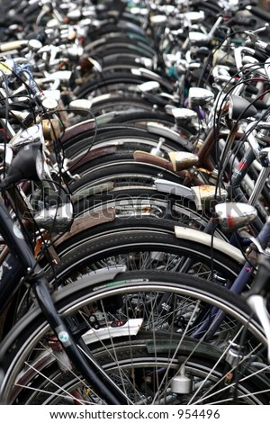 bikes parking  on a street in holland in Leiden
