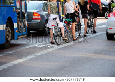 Bikes waiting for green light - stock photo