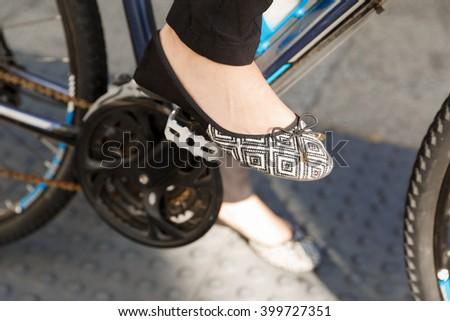 Biking in city - stock photo