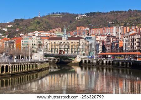 Bilbao, Basque Country, Spain cityscape at bright Sunny winter day - stock photo