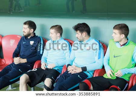BILBAO - DECEMBER, 20: Javier Eraso, Iago Herrerin, Kike Sola and Iker Muniain on the bench in the Spanish League match against Levante UD at San Mames Stadium on December 20 2015 in Bilbao Spain