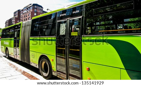 BILBAO, SPAIN - APRIL 13: An urban bus in the city of Bilbao. There are forty six urban lines. April 13, 2013 in Bilbao, Basque Country, Spain - stock photo