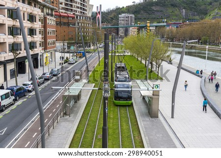 BILBAO, SPAIN - APRIL 9:The modern tram of Bilbao was inaugurated in 2002 on April 9, 2015 in Bilbao, Basque Country, Spain